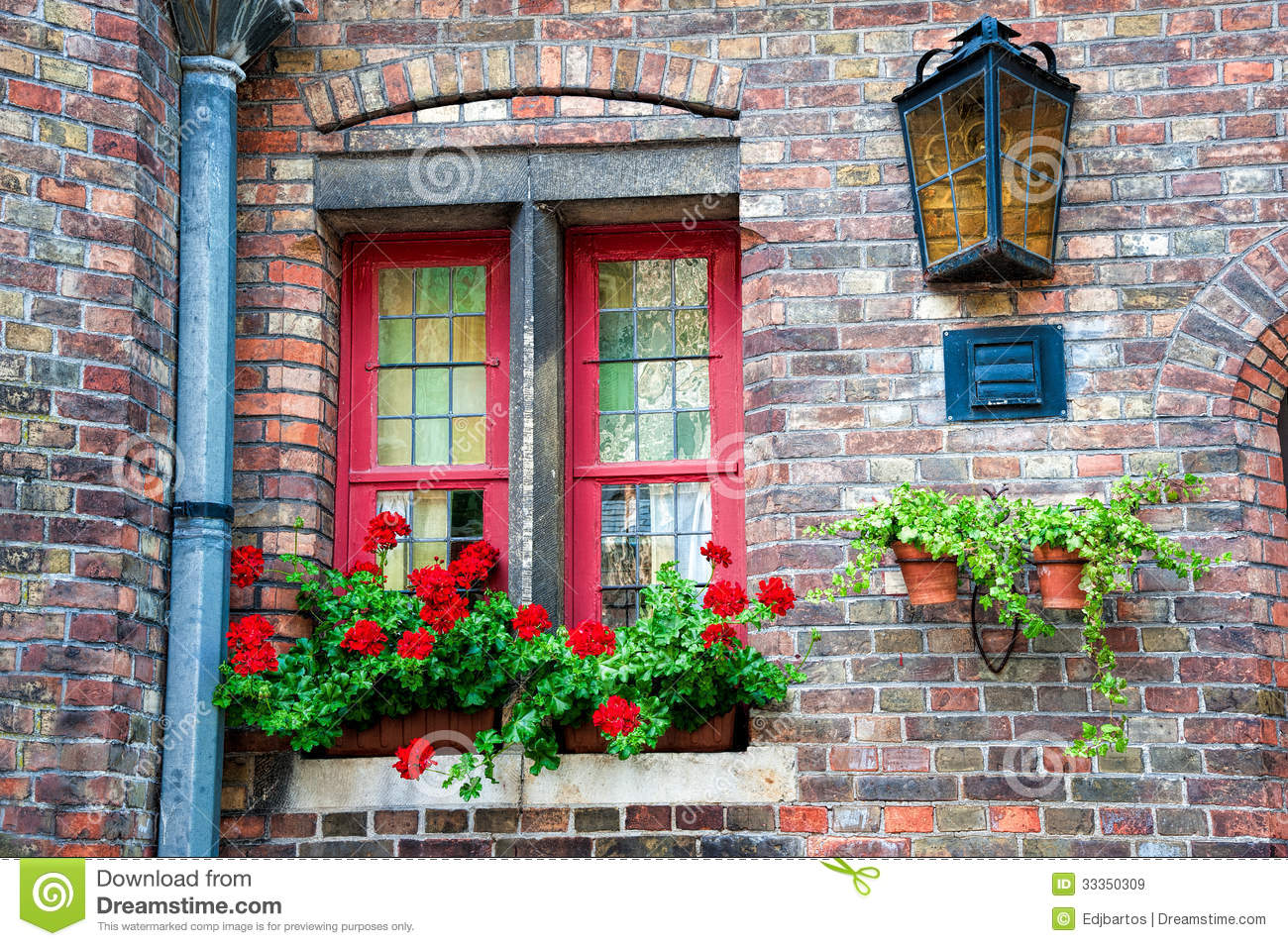 The Red Window Stock Image Image Of Glass Lamp Window