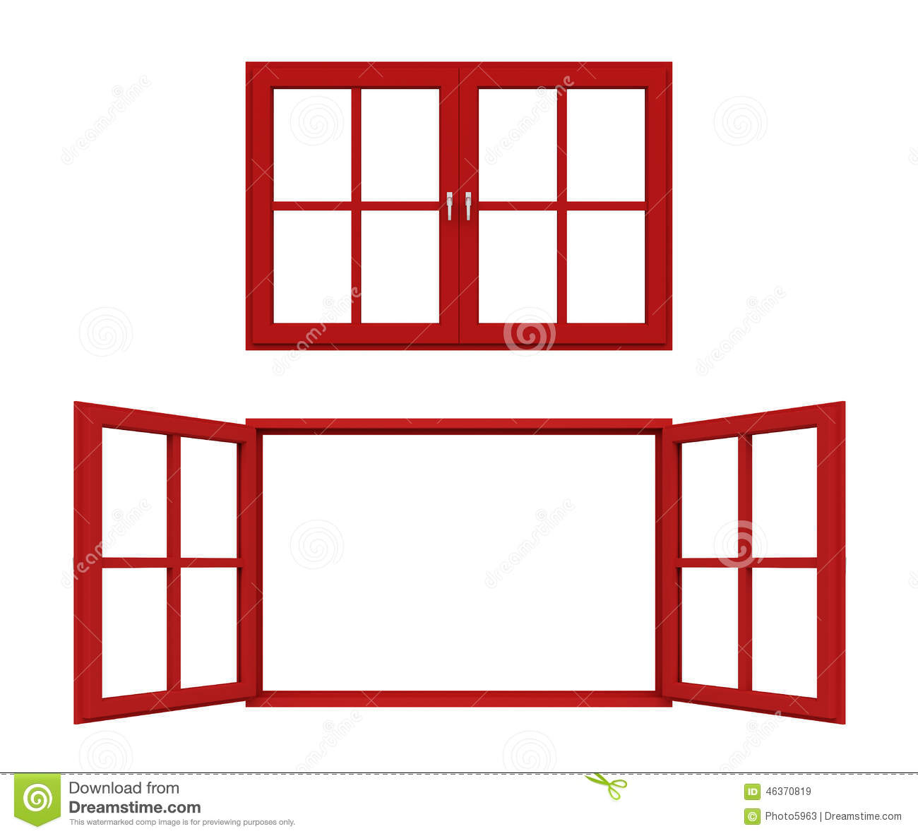 red window frame white background 46370819