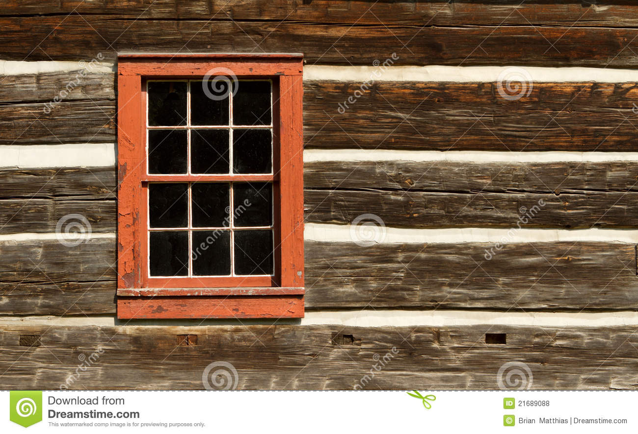 Red window of log cabin royalty free stock photos image for Windows for log cabins