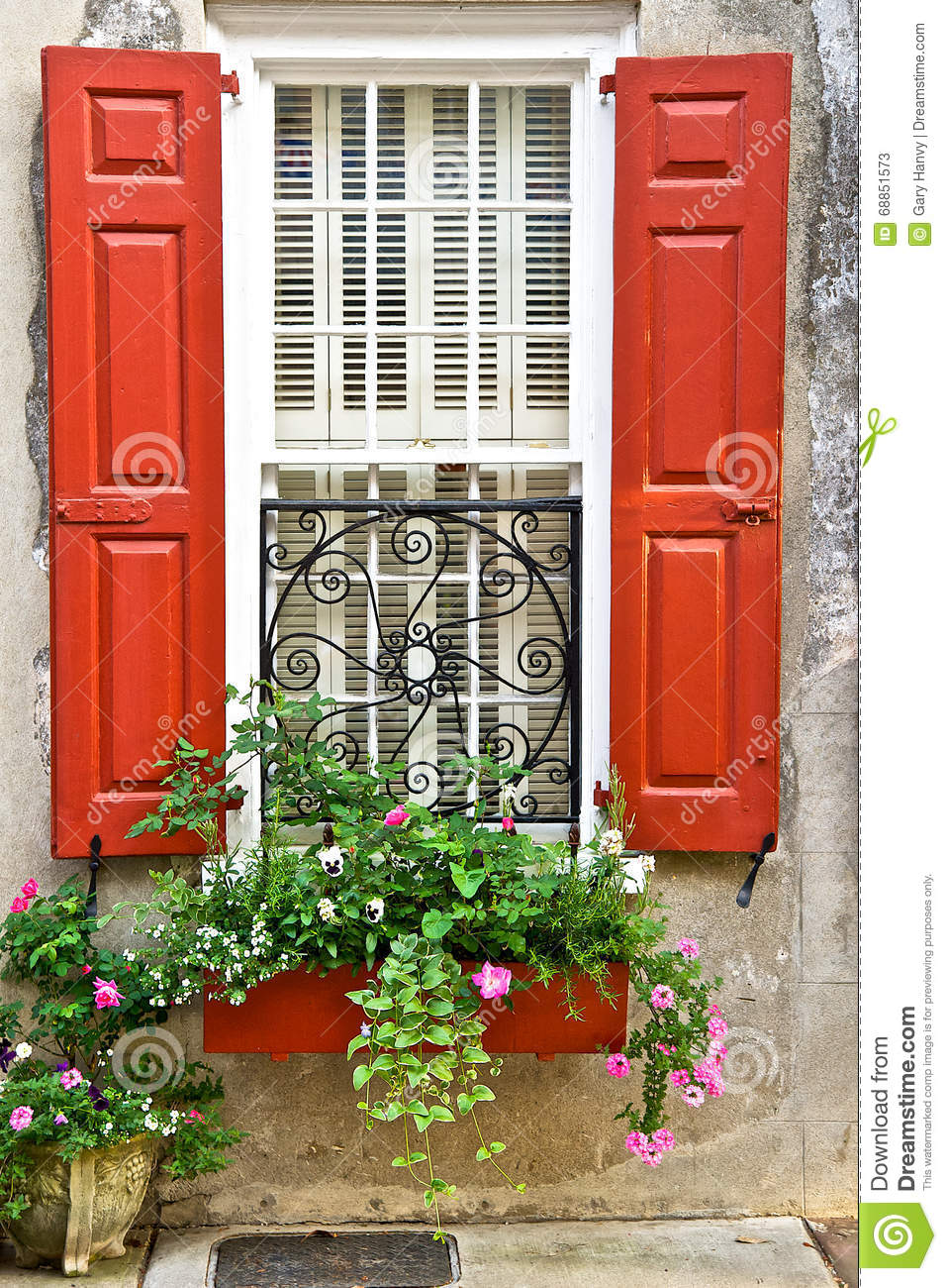 Red Window Shutters With Flower Box And Planter Stock ...