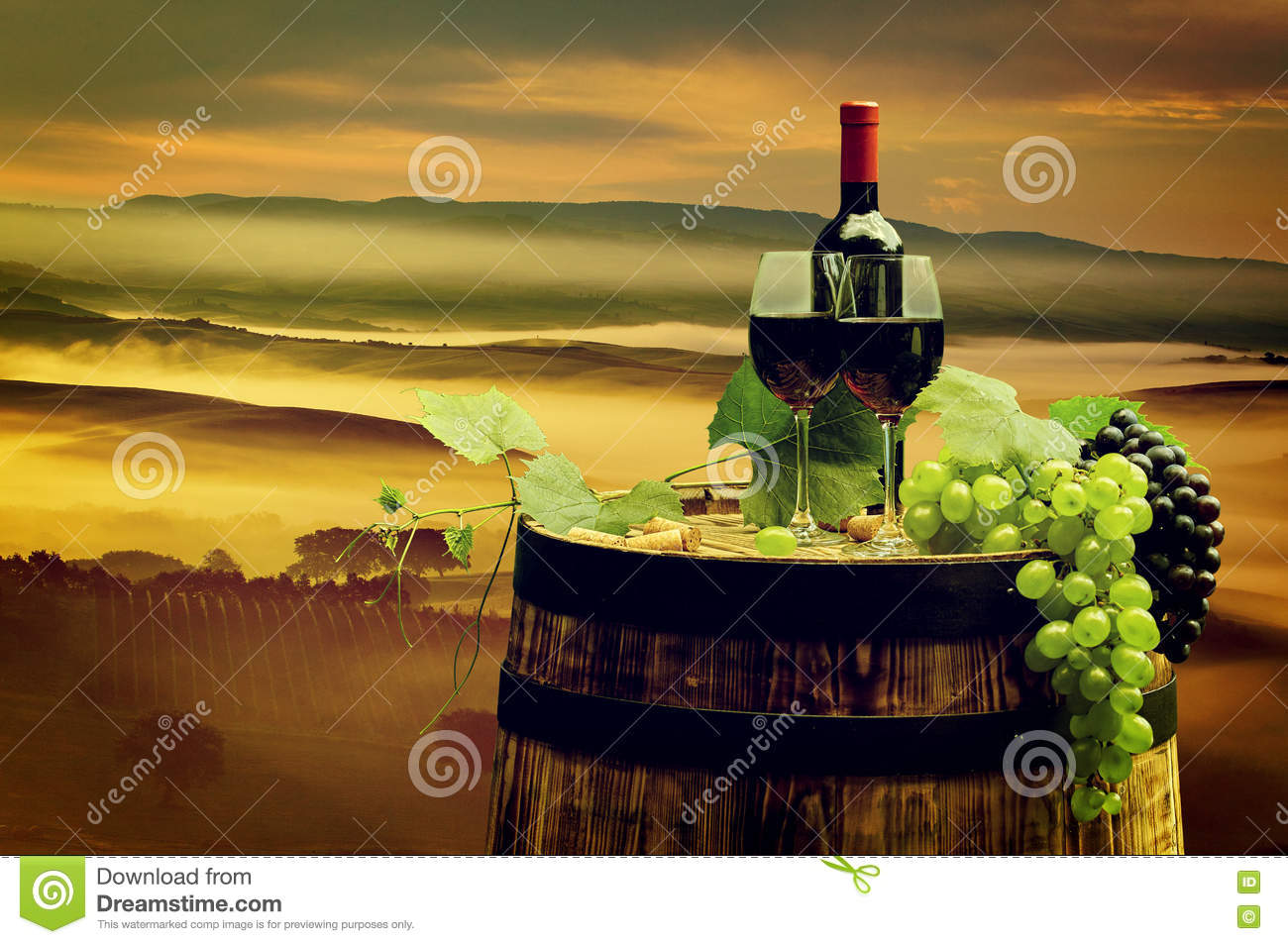 Red wine with barrel on vineyard in green tuscany royalty for Green italy