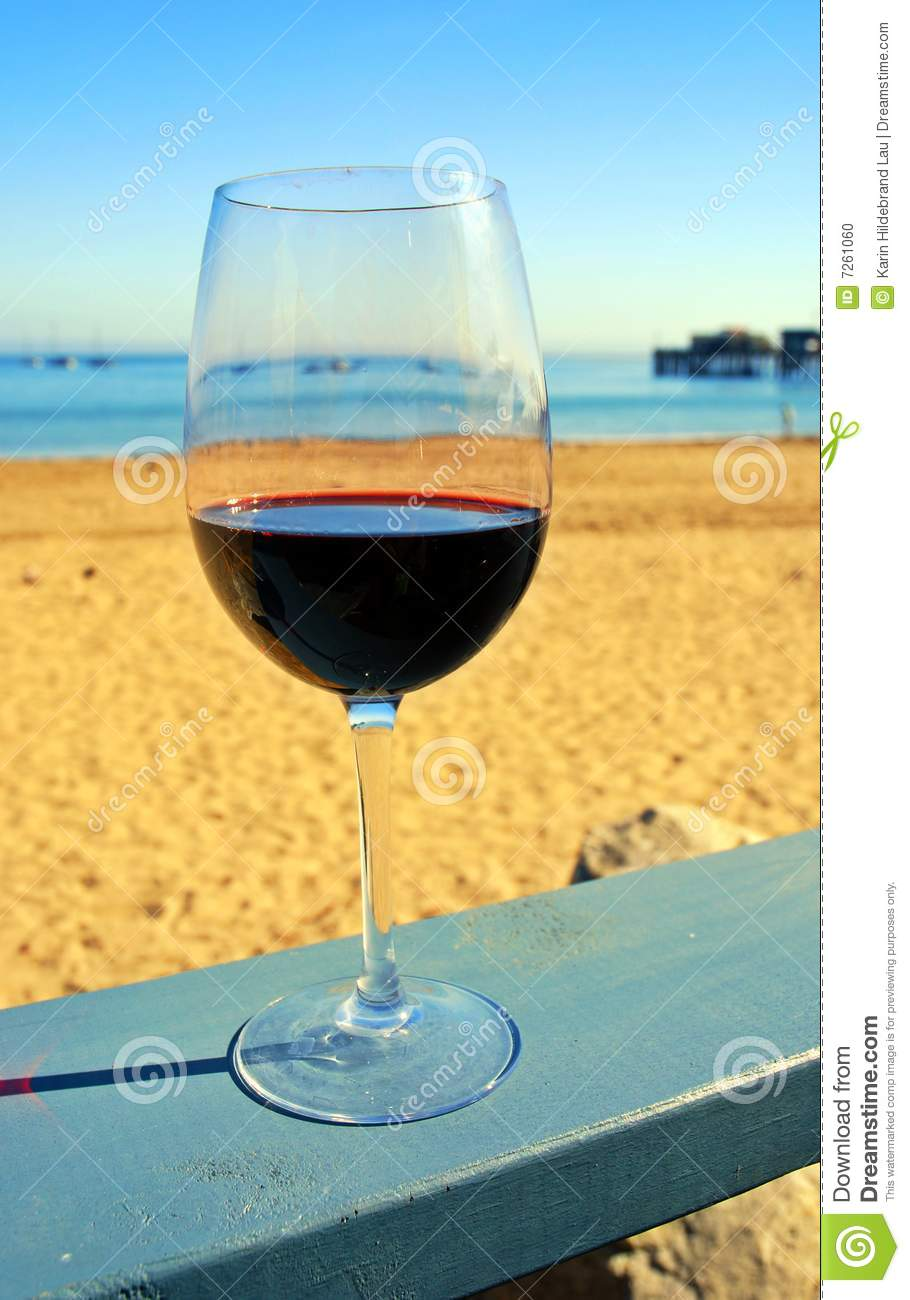 Red Wine At The Beach Stock Photo Image 7261060