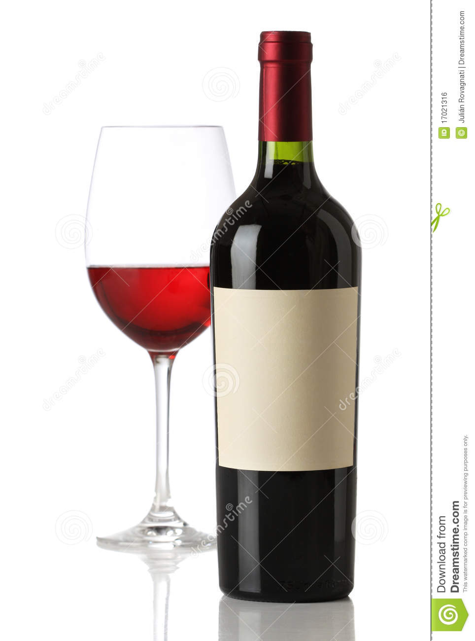 Red wine bottle with and empty label stock photo image for Red glass wine bottles suppliers