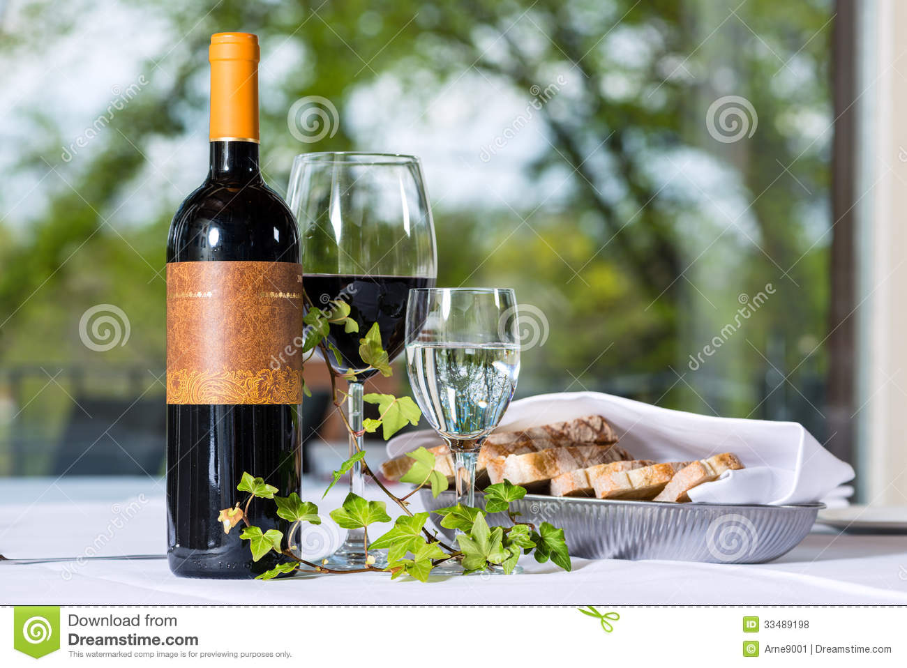 Red Wine With Bottle And Glass On A Table Royalty Free  : red wine bottle glass table arrangement bred fine dining restaurant 33489198 from www.dreamstime.com size 1300 x 958 jpeg 152kB