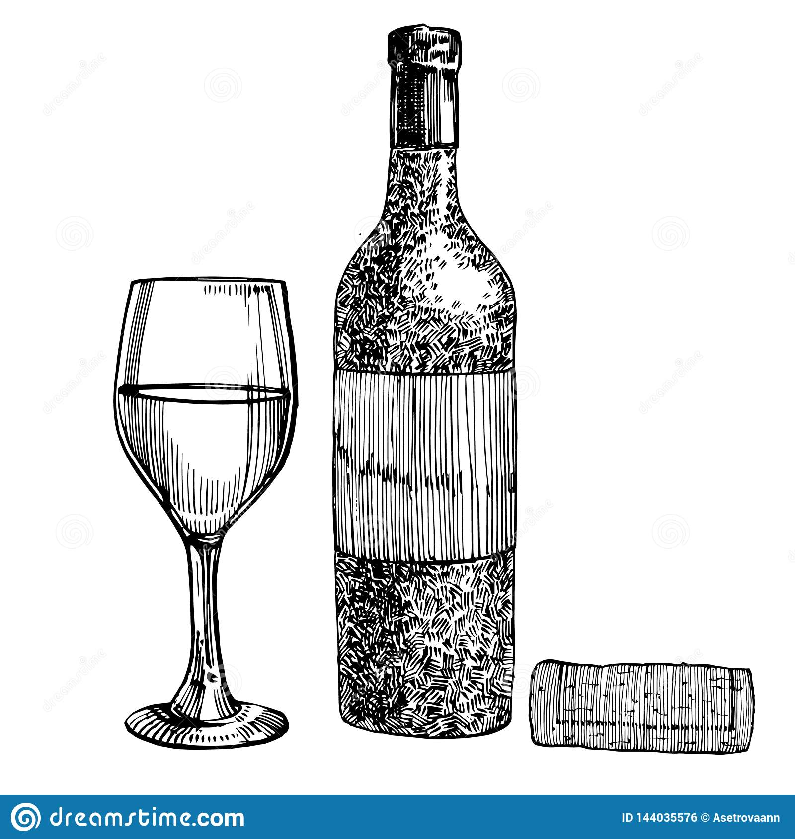 Red Wine Bottle And Glasses Sketch Style Illustration Isolated On White Background Realistic Hand Drawing Engraving Stock Illustration Illustration Of Alcohol Object 144035576