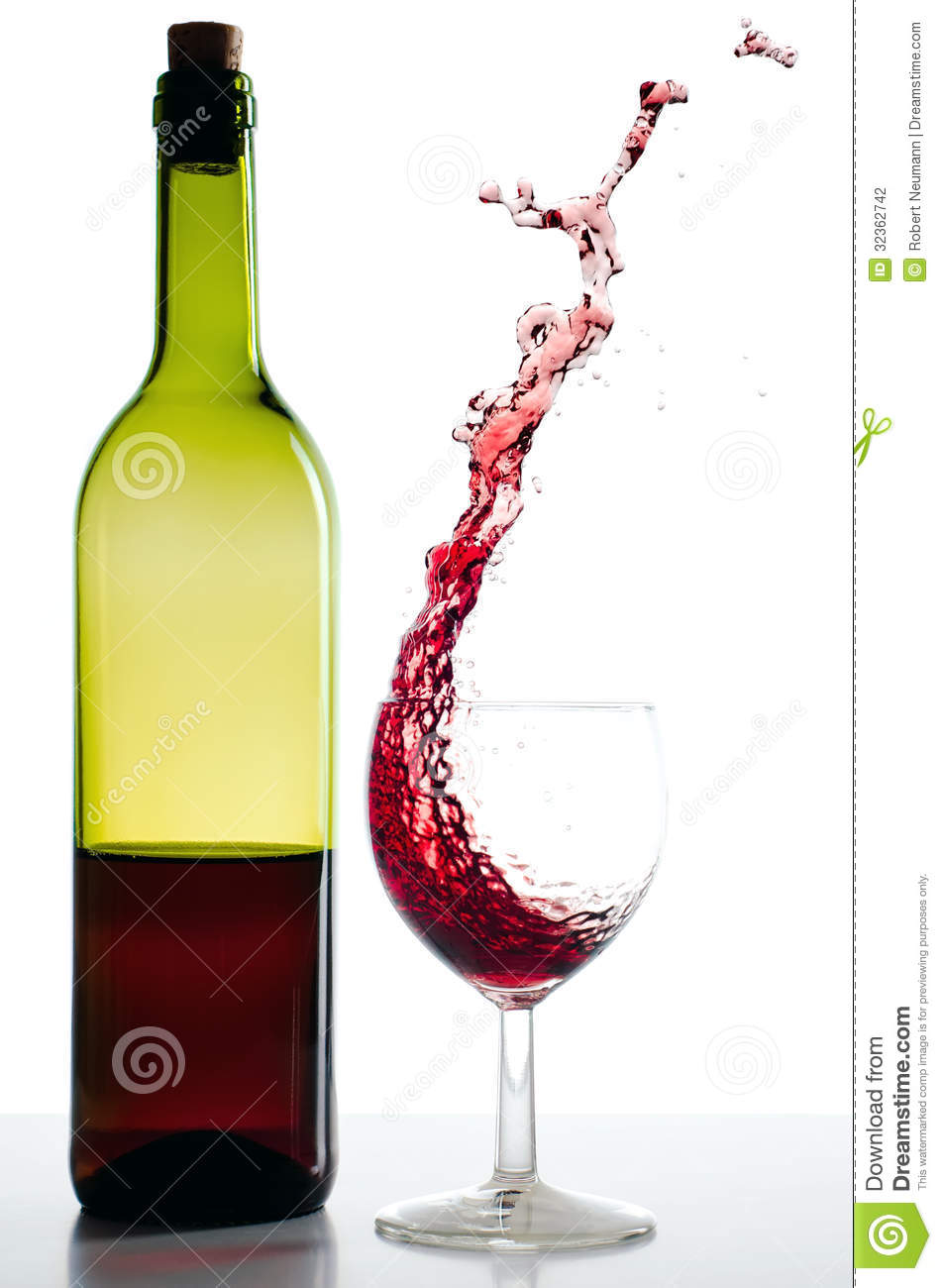 red wine bottle and red wineglass splash bottle red wine