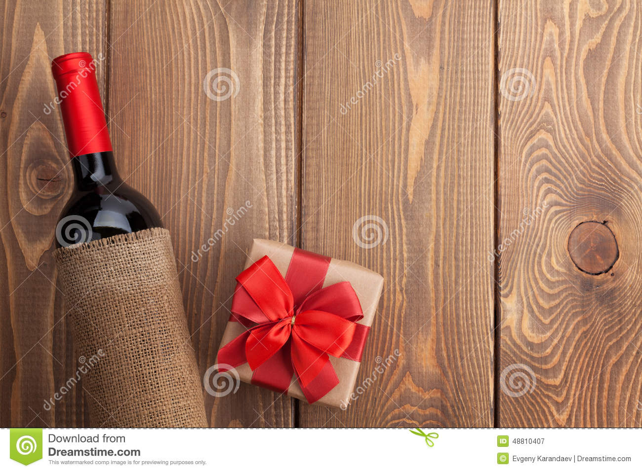 Red Wine Bottle And Valentines Day Gift Box Stock Image
