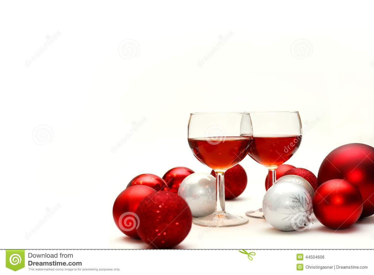 red wine and christmas decorations isolated on white background - Wine Christmas