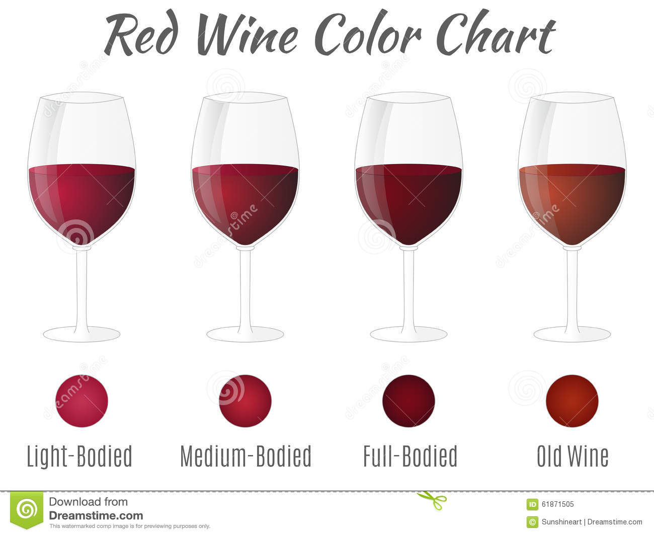 Red Wine Color Chart Hand Drawn Wine Glasses Stock