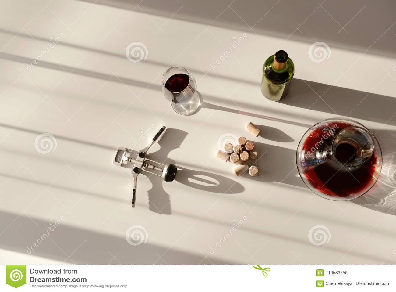 Red Wine In Decanter Glass And Bottle Stock Photo Image