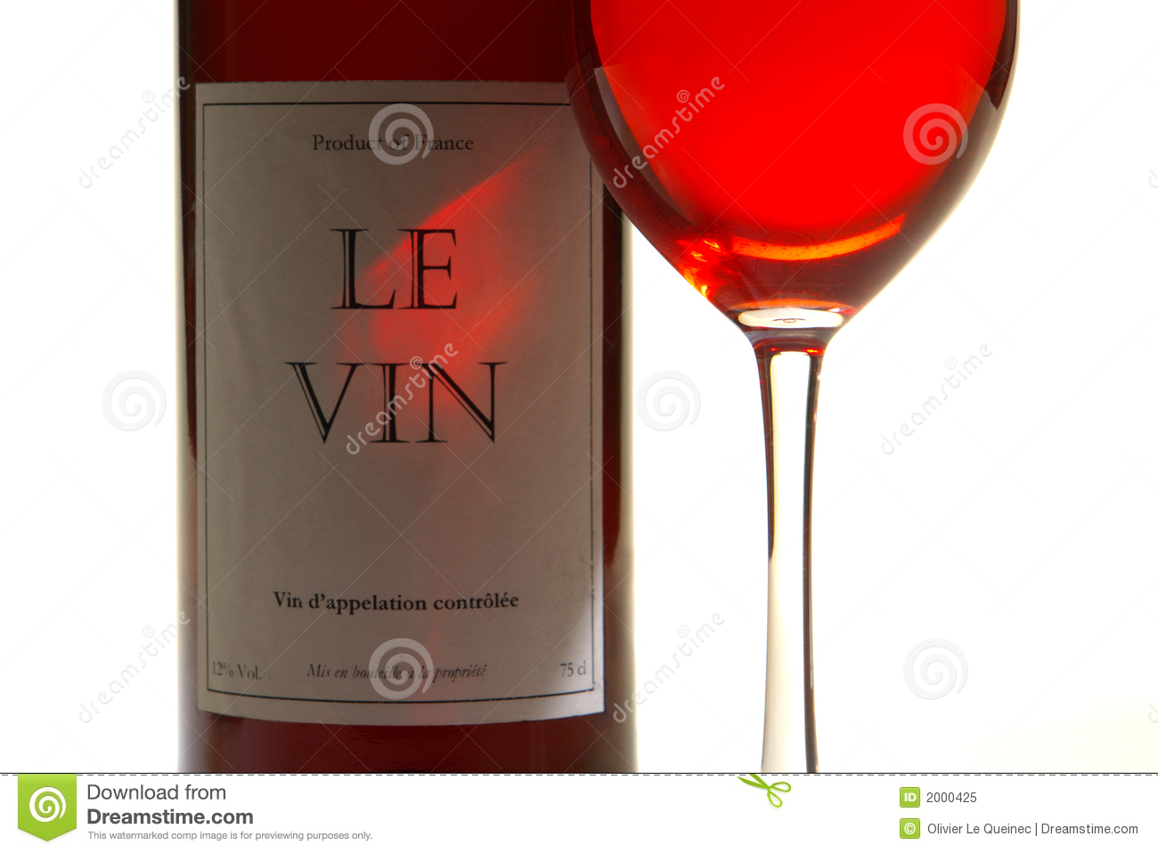 red wine glass and bottle with label isolated bottle red wine