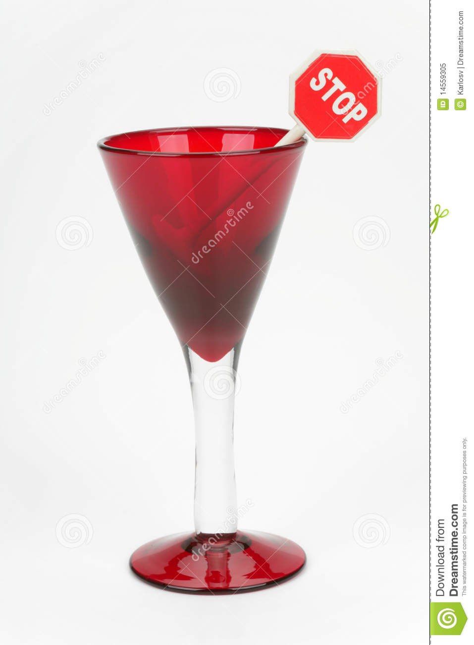 Red wine glass and sign stop