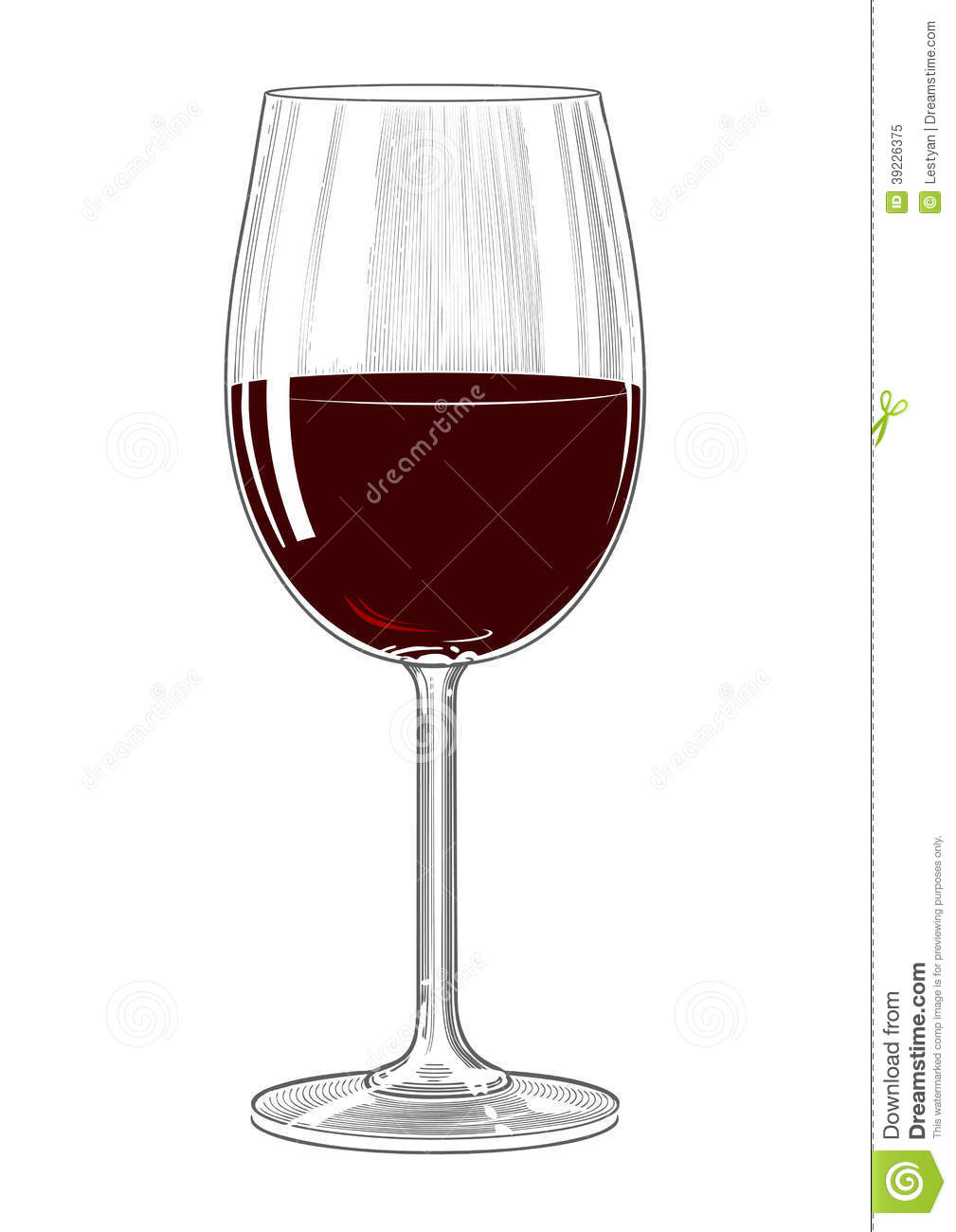 Red Wine Glass In Vintage Engraving Style Stock Vector ...