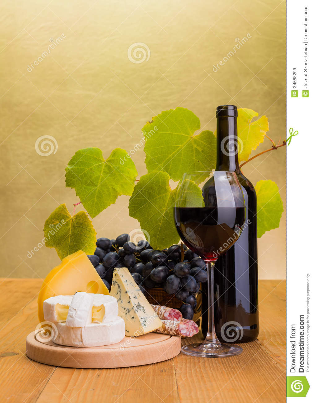 Red Wine With Grape And Cheese Snack Stock Image Image