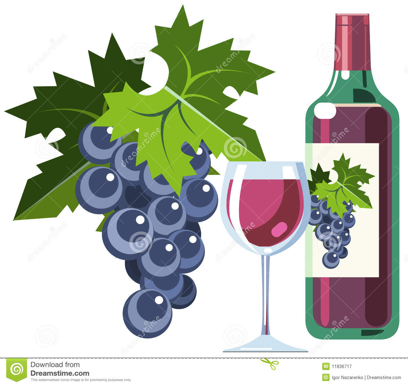 Red Wine With Grapes Bottle And Glass Stock Vector Illustration Of Fresh Isolated 11836717