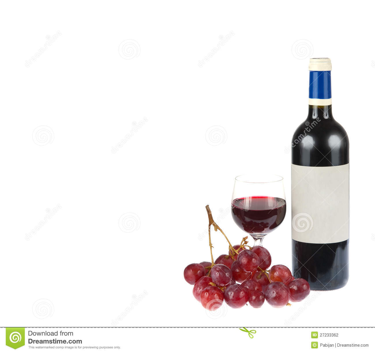 Red Wine With Grapes Isolated On White Stock Photo - Image ...