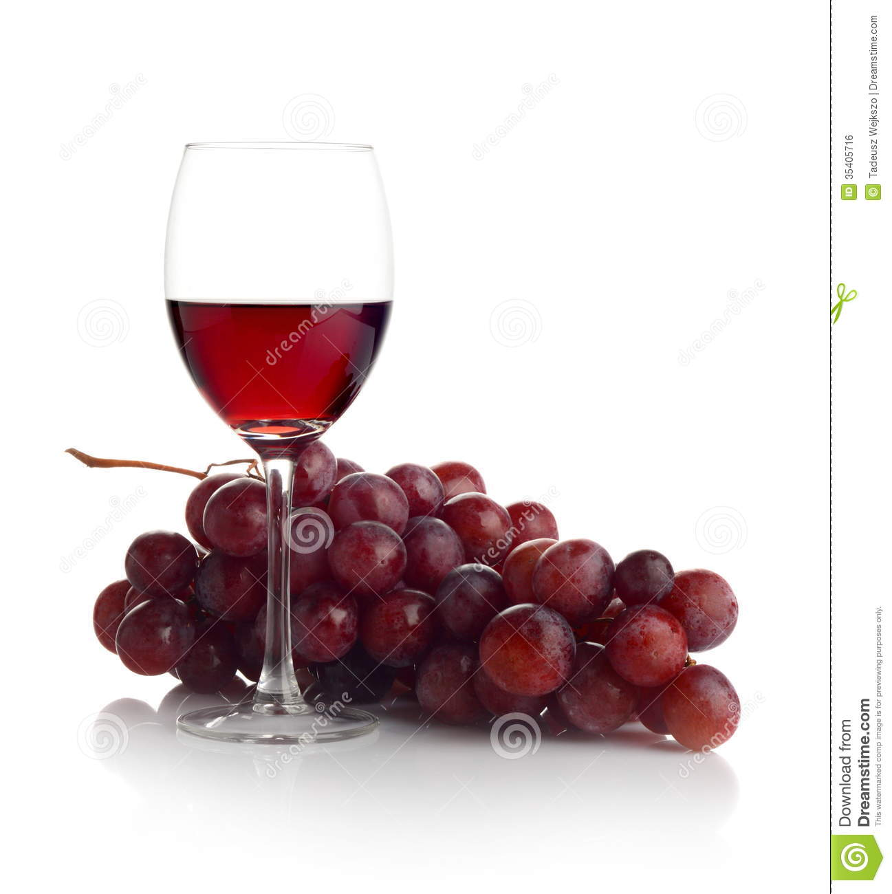 Red Wine And Grapes On White Stock Photo - Image: 35405716