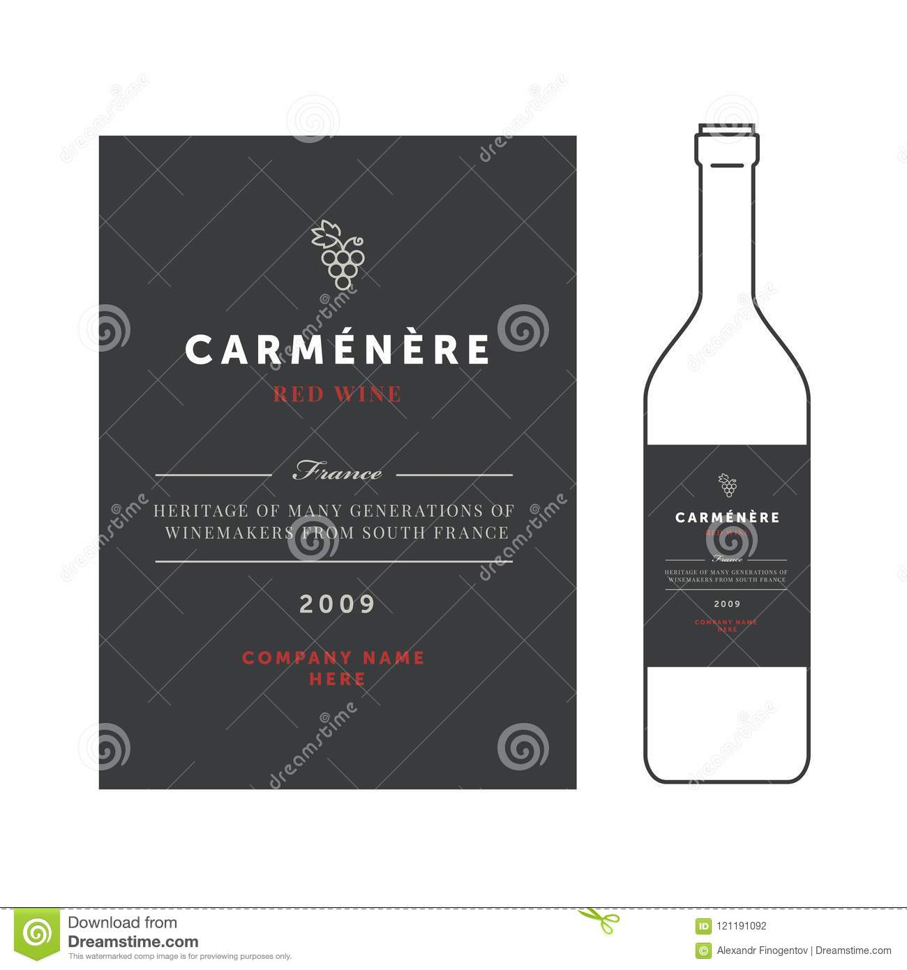Red Wine Labels. Vector Premium Template Set. Clean And