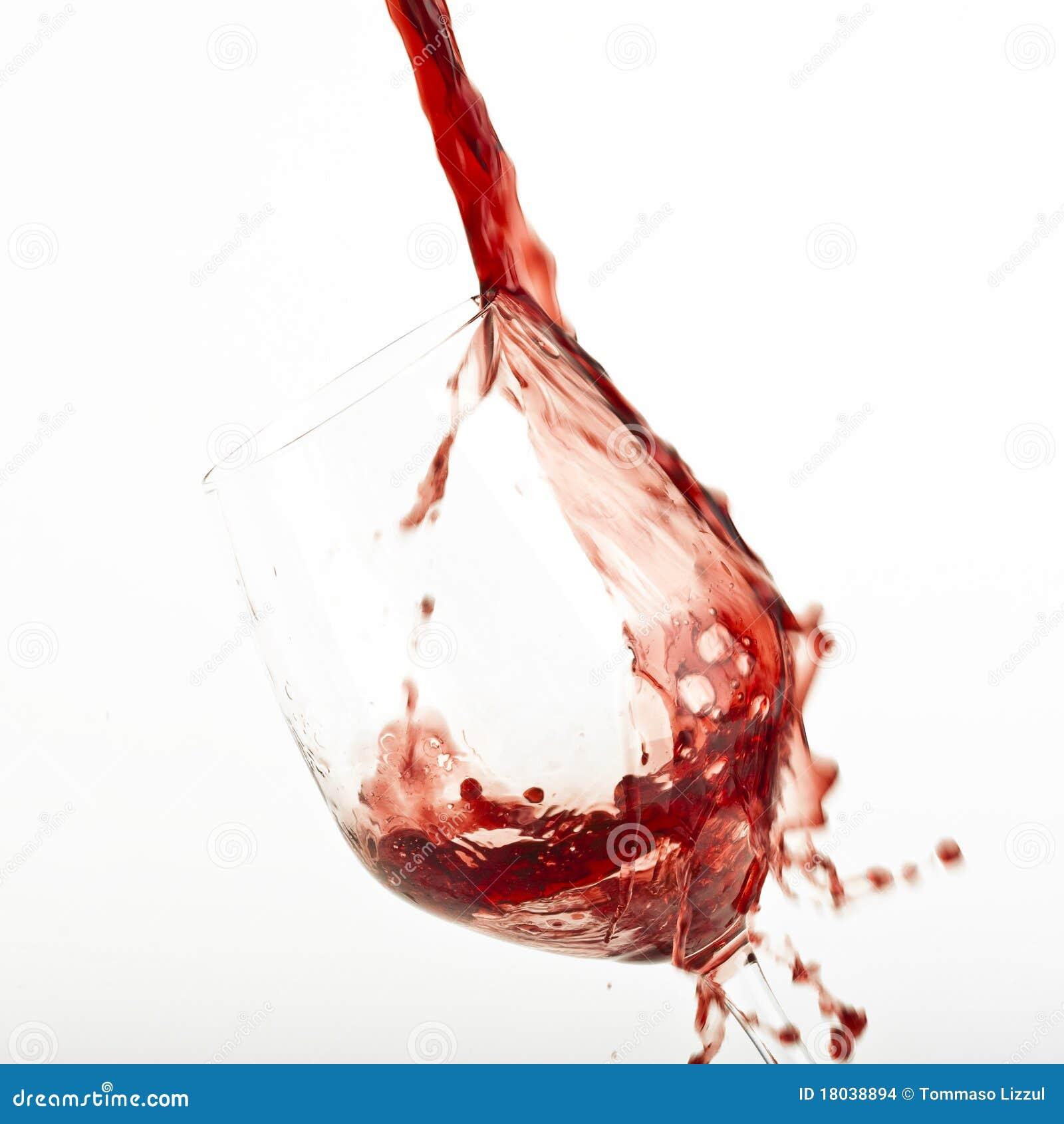 Red wine splash on a glass.