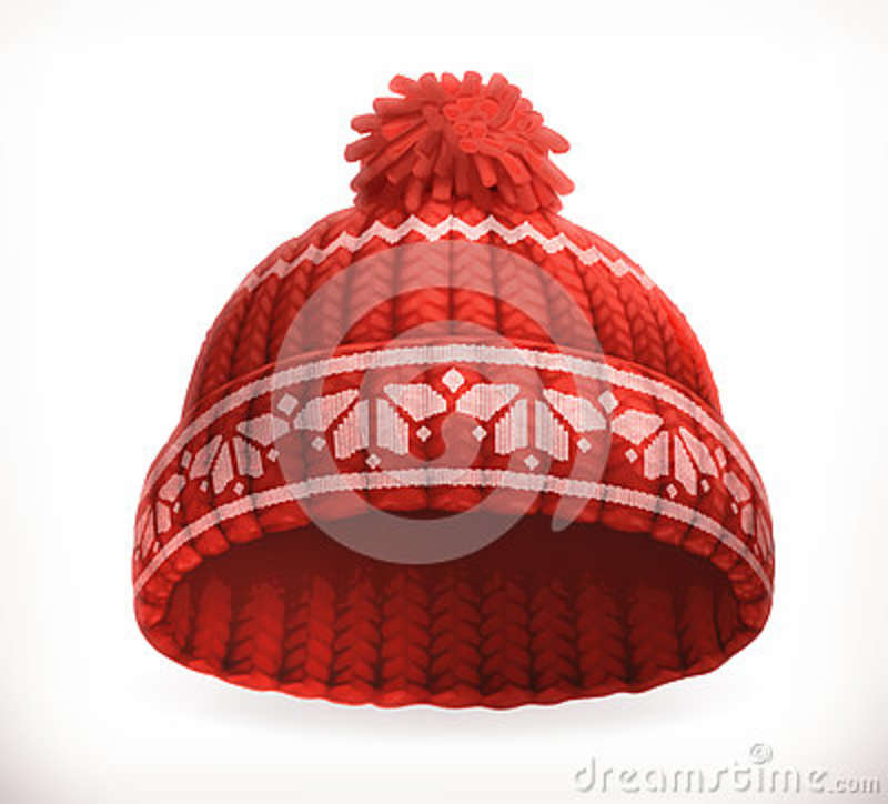 48fae1c53292 Red Winter Knitted Hat. Vector Icon Stock Vector - Illustration of ...