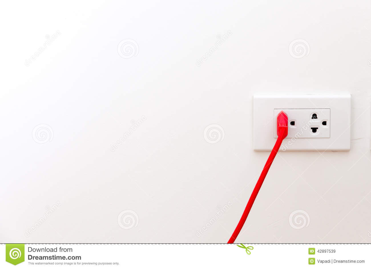 Red Wire With Flat Pin Plugged Into Socket Stock Image - Image of ...