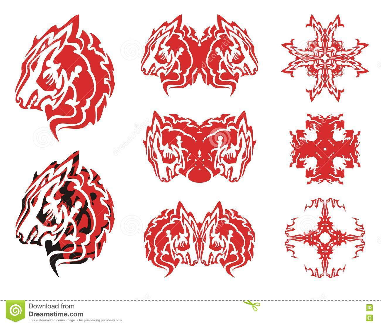 red wolf head symbols and crosses from it stock vector