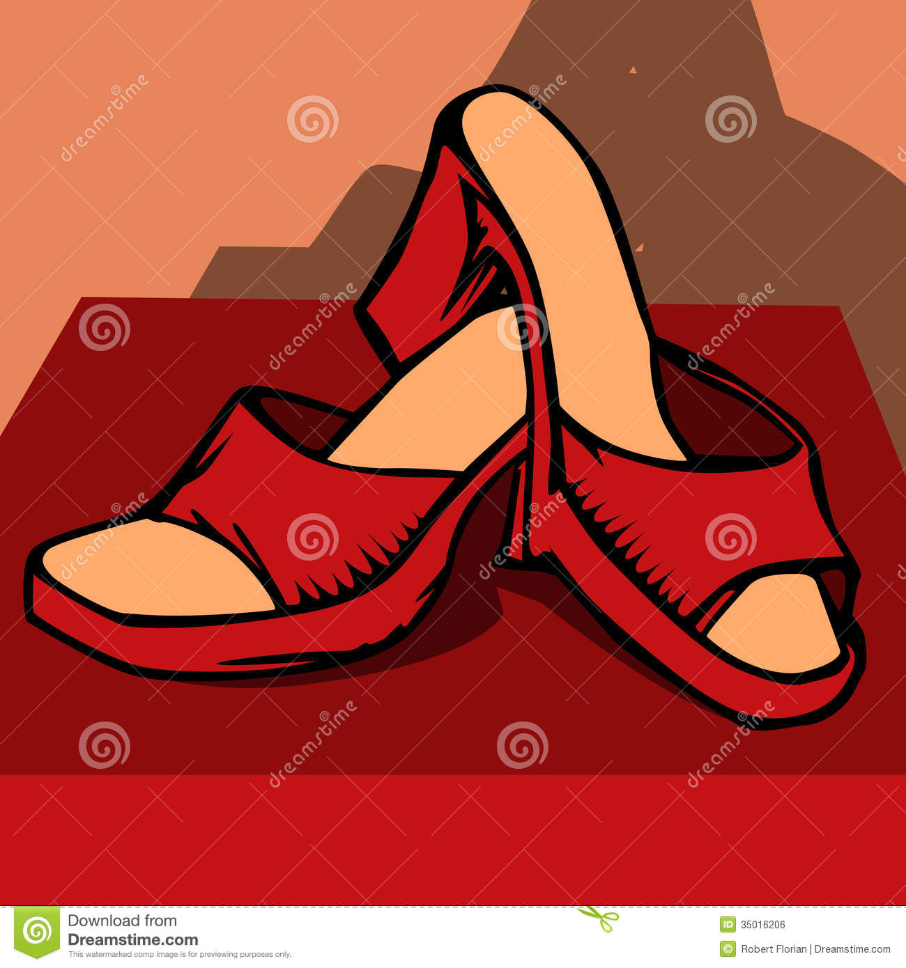 Stock Illustration Women Red Shoes