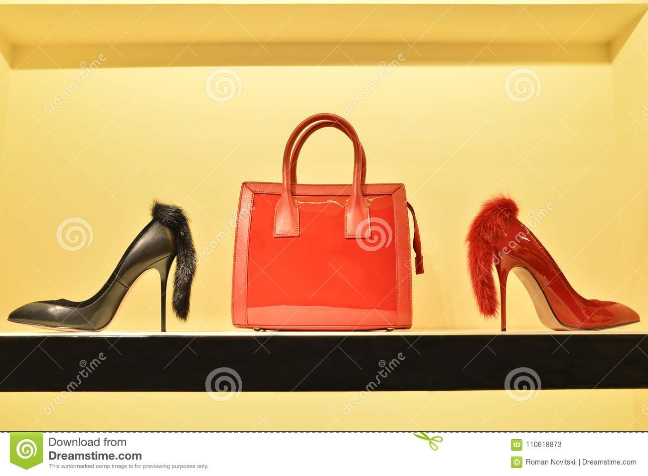 423a8d6042b Red Women`s Bag In A Combination Of Red And Black Stilettos. The ...