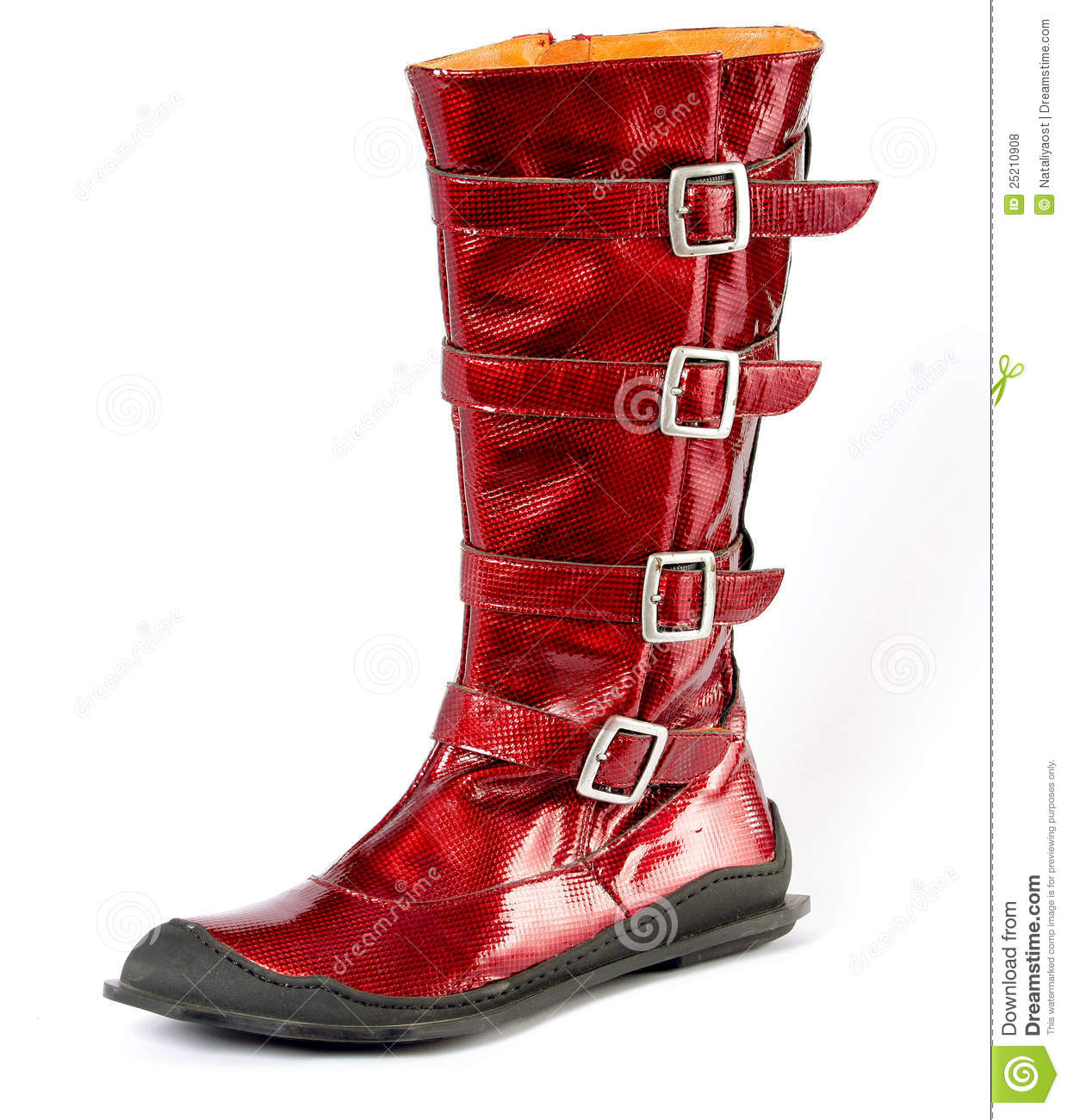 Red Women's Boots Genuine Leather, Metal Buckles Royalty Free ...