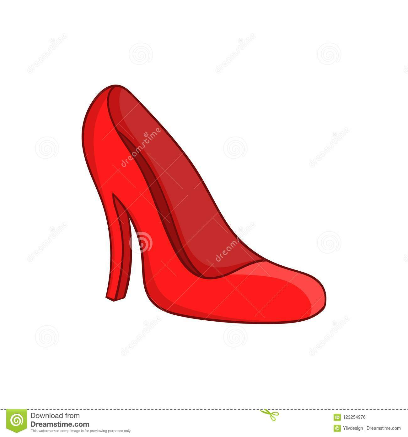 Red Women Shoes Icon Cartoon Style Stock Illustration
