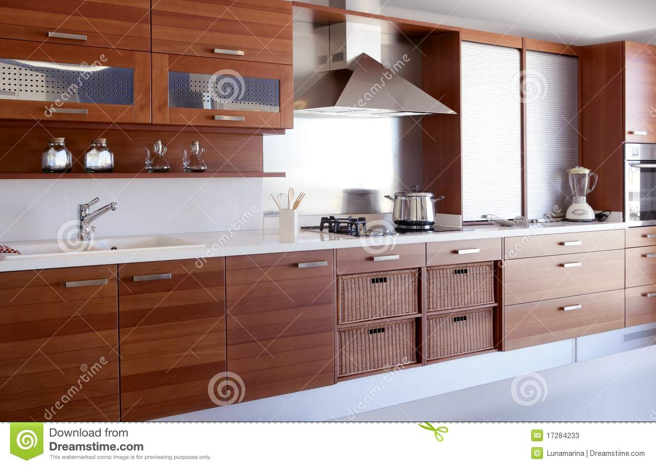 Cuisine En Bois Moderne red wood kitchen white kitchen bench stock image - image of