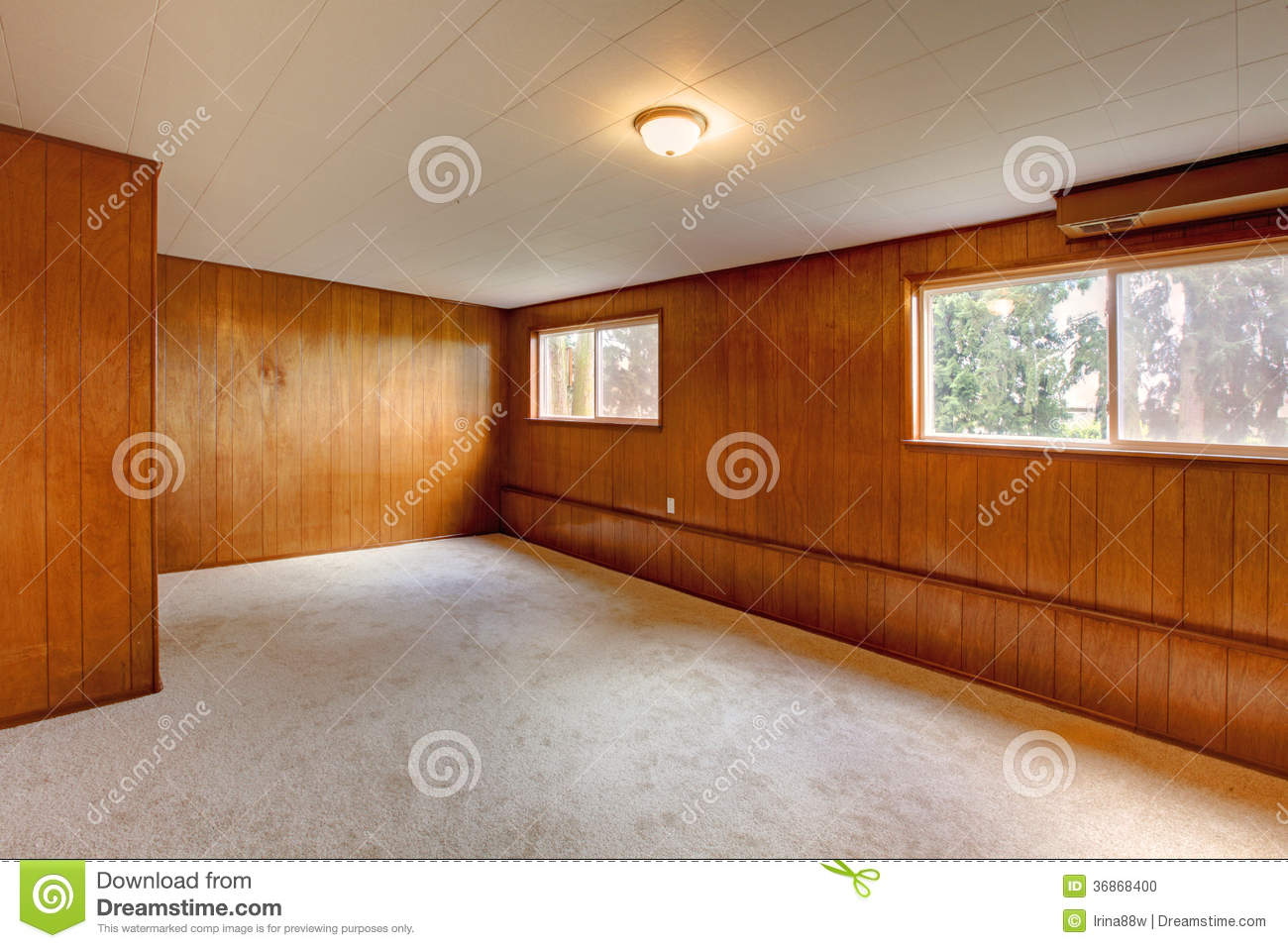 Red wood panel walls empty room stock photo image 36868400 - Wood panel rooms ...