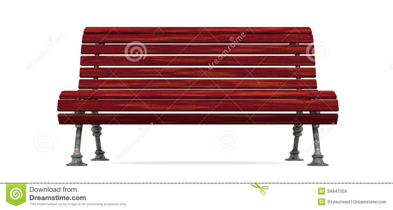 Red Wood Slat Bench Isolated Royalty Free Stock Images - Image ...