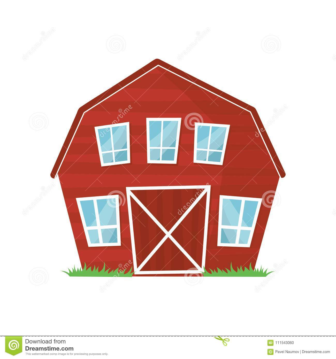 red wooden farm barn with big windows for keeping animals or