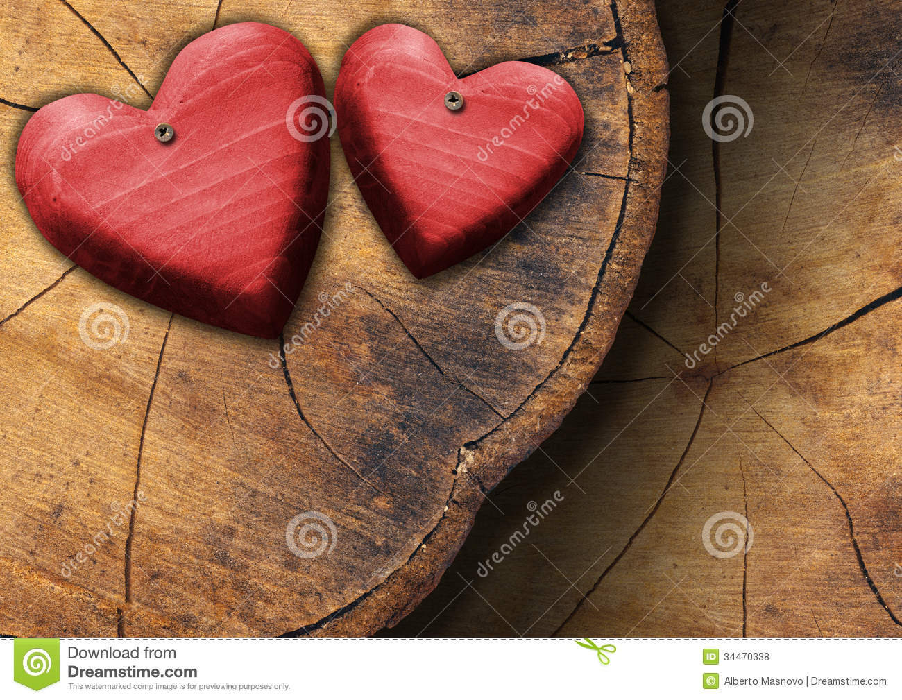 red wooden hearts on trunk section stock photo image of