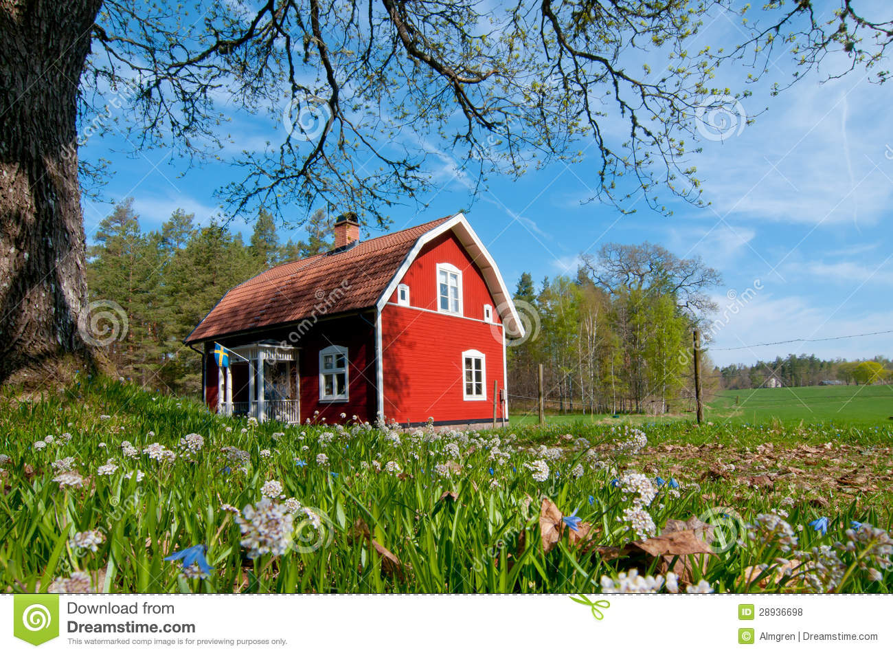 Red wooden house in Sweden in spring
