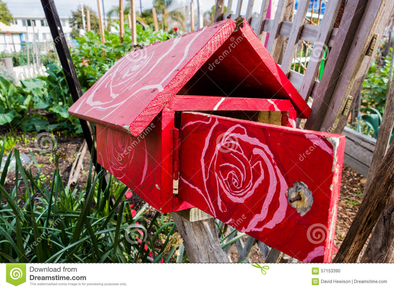 Red wooden letterbox with a floral pattern stock photo image of red wooden letterbox with a floral pattern spiritdancerdesigns Images