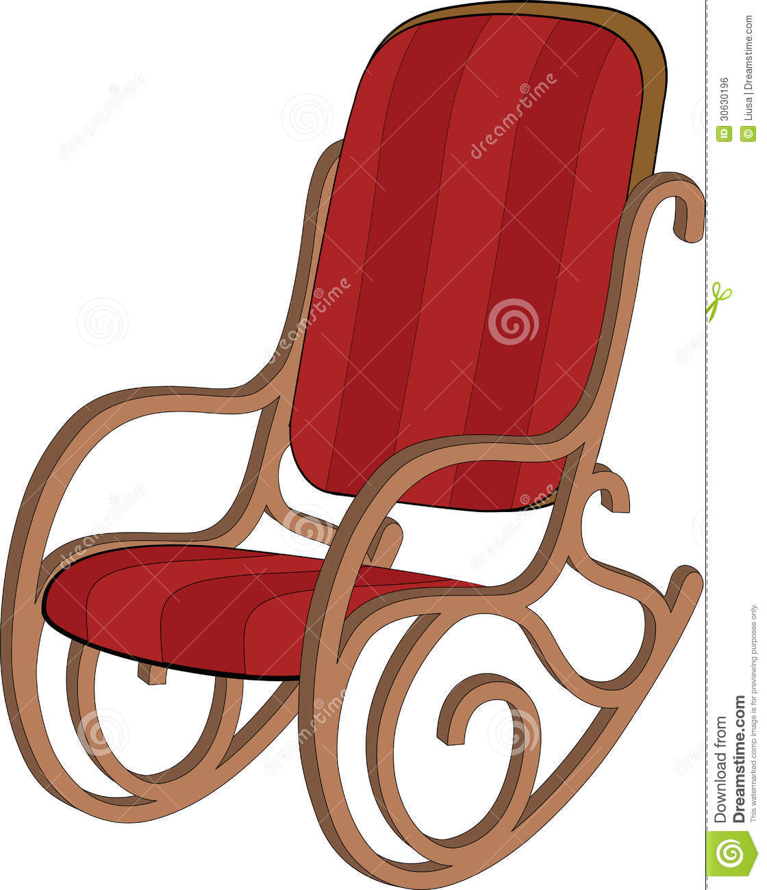 Red Rocking Chair Clipart ~ Red wooden rocking chair royalty free stock image