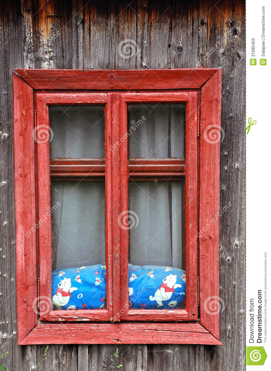 Red Wooden Window On A Rustic House Stock Photos Image