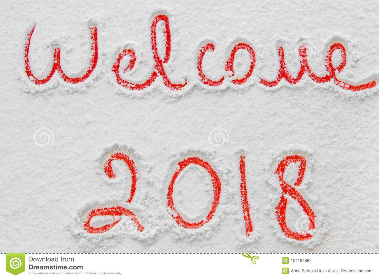 Written welcome 2018 on the snow stock image image of symbol royalty free stock photo buycottarizona Gallery