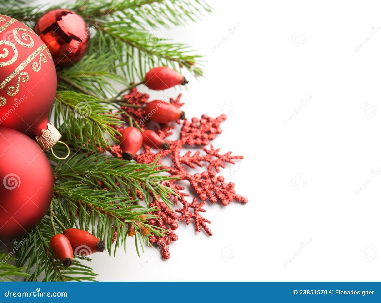 Red Xmas Decorations On White Background Stock Photo Image