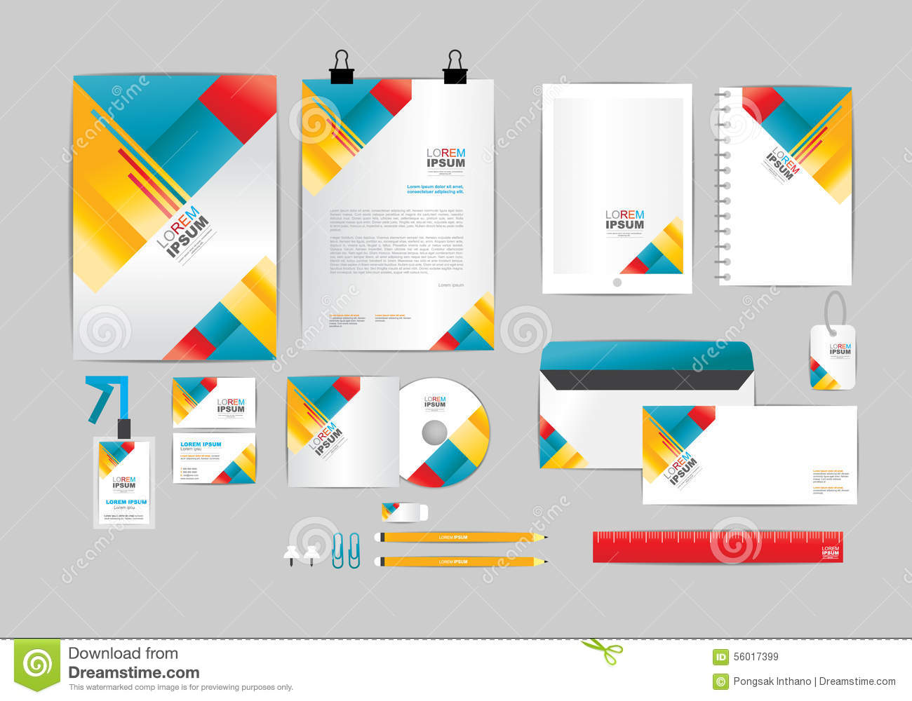 red yellow and blue corporate identity template for your