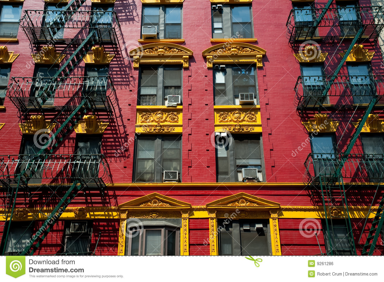 red and yellow brick apartment royalty free stock image