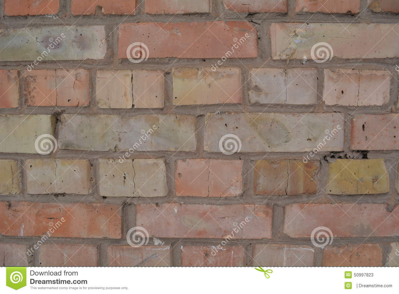 Red Yellow Brick Wall Background Texture Stock Photo