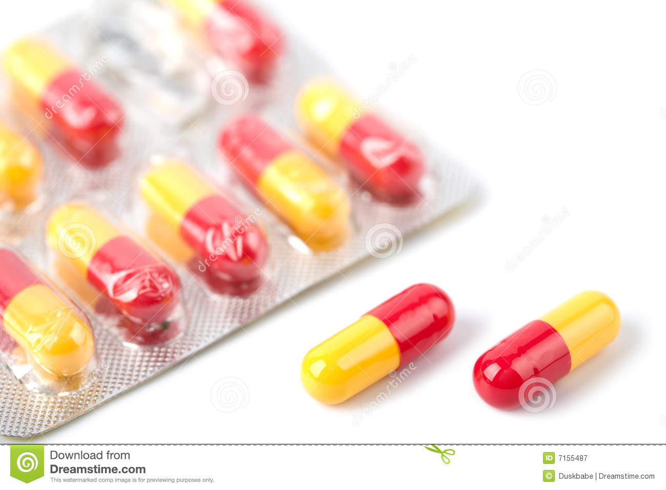 Red And Yellow Capsule Pills In - 94.3KB
