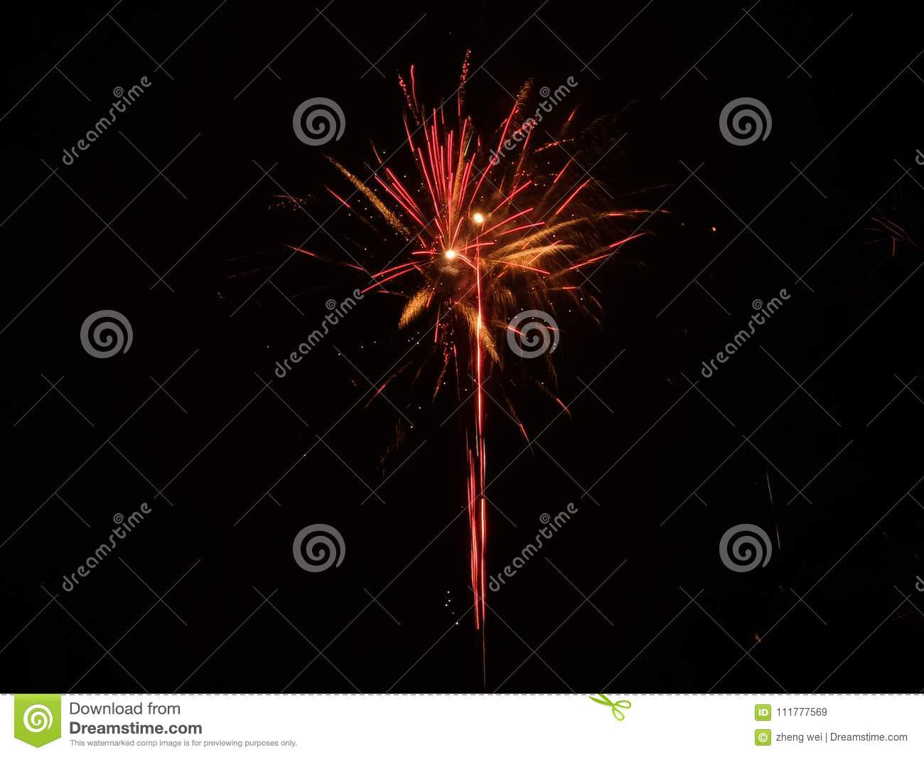 Red yellow firework in black background