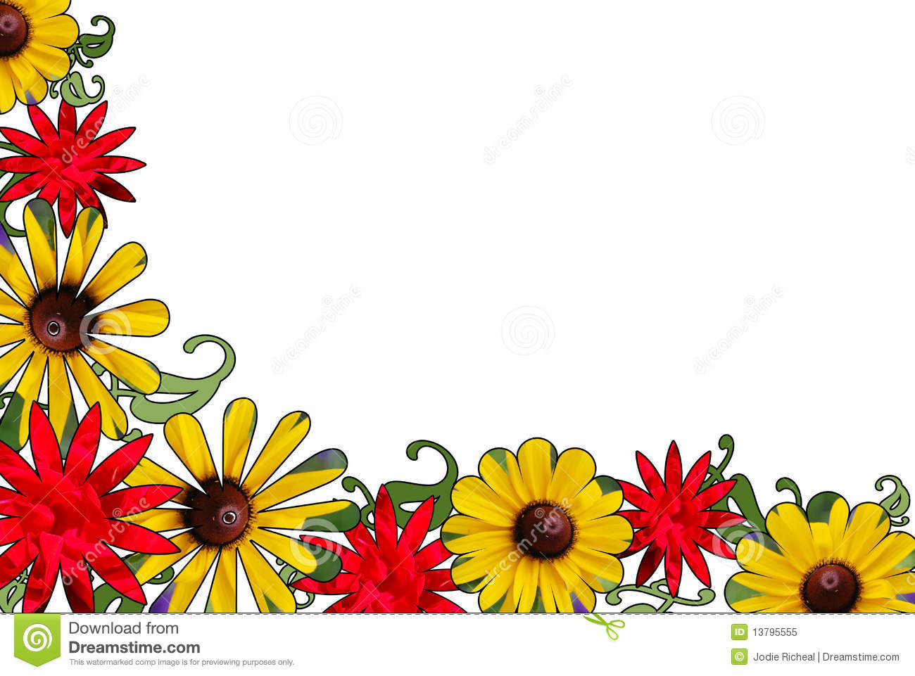Red And Yellow Floral Border Stock Image Image Of Retro Design