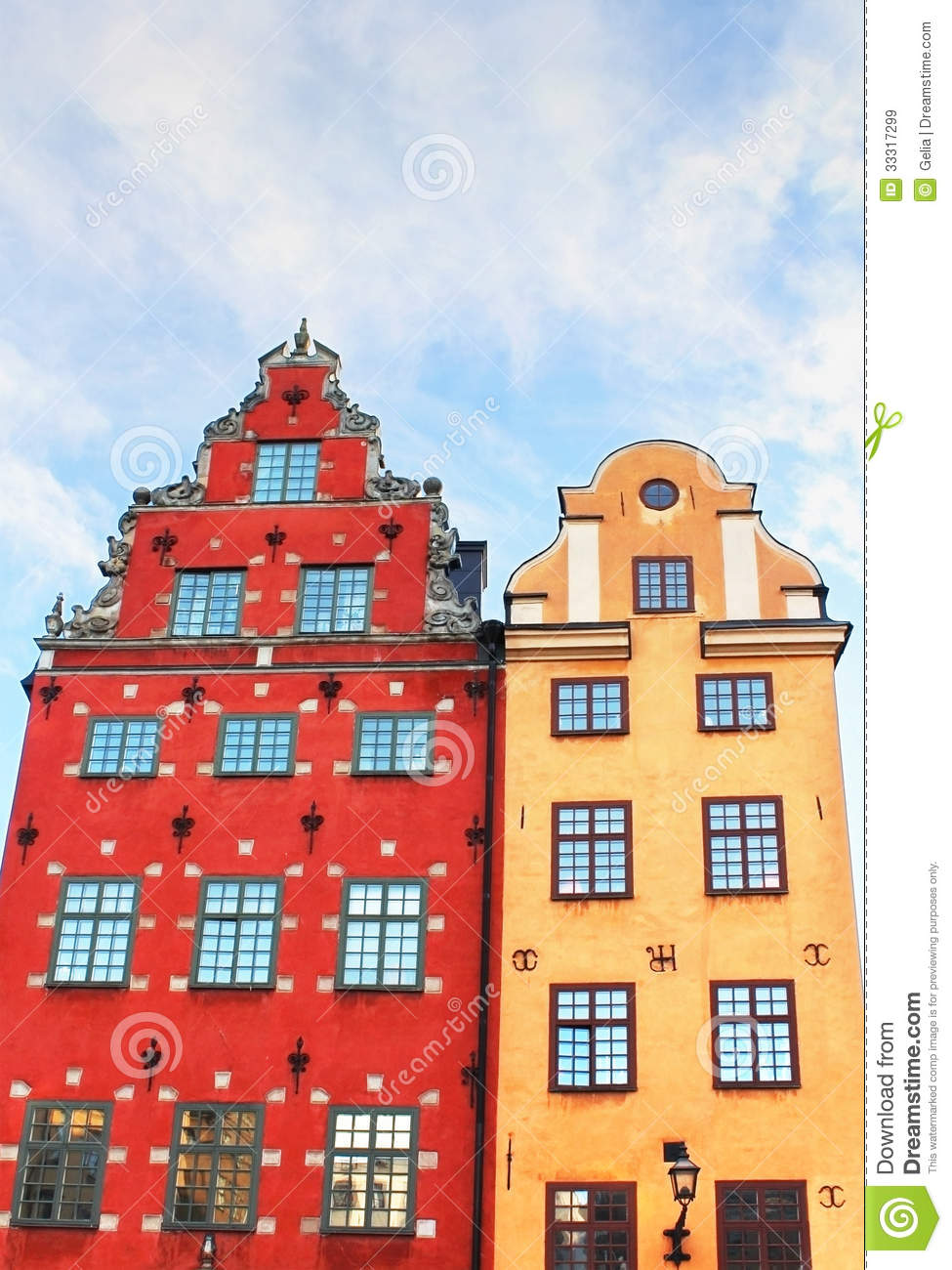 Red And Yellow Iconic Buildings On Stortorget Stock Image
