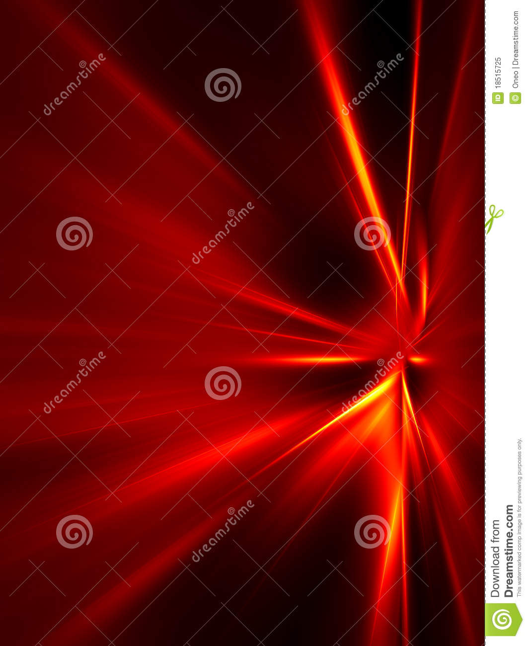 Red and yellow rays on black background