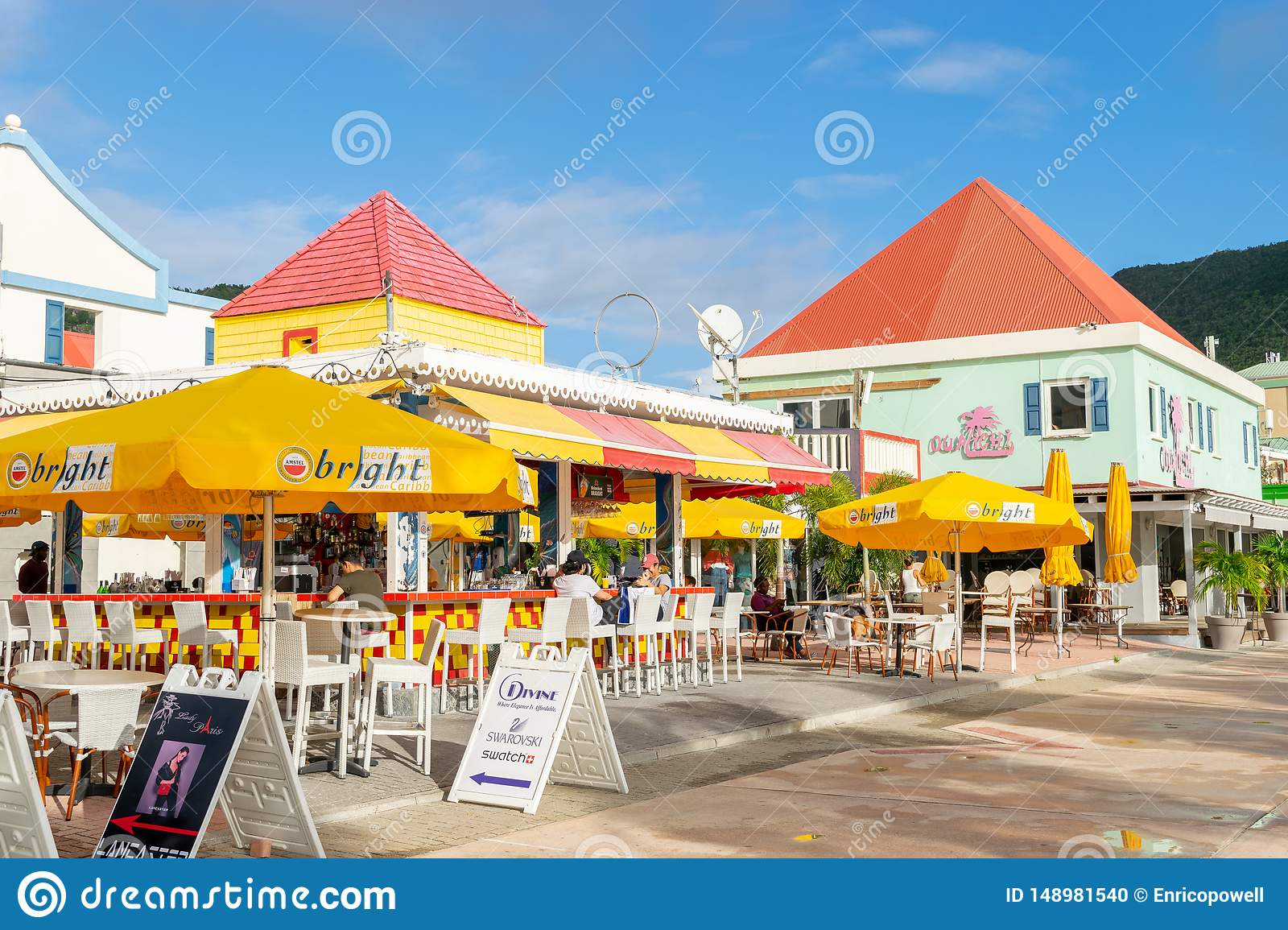 Red And Yellow Restaurant Bar By The Beach In Philipsburg Sint Maarten Editorial Image Image Of Lady Eastern 148981540